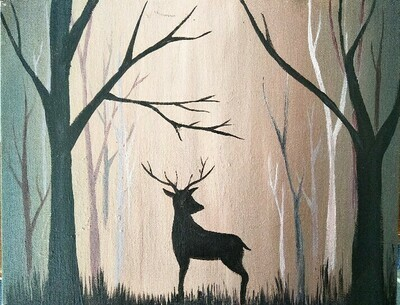 Deer in the woods LIVE/ ONLINE paint party MONDAY 20TH JULY 6PM -8PM