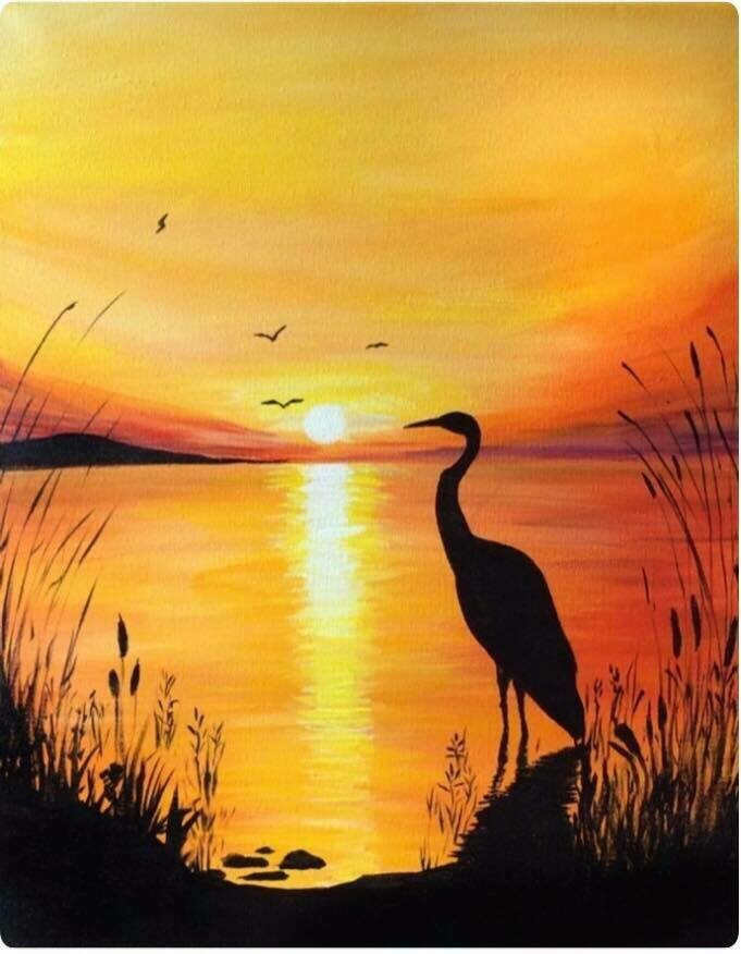 HERON IN THE SUNSET  LIVE/ ONLINE paint party WEDNESDAY 22ND  JULY 6PM -8PM