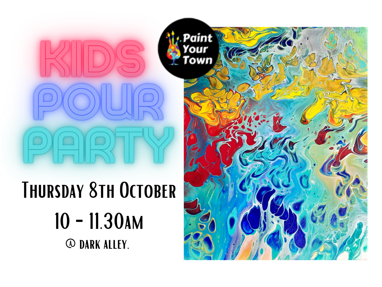 Family Acrylic Pour Workshop at Star Alley Wauchope! Thursday 8 October 10am