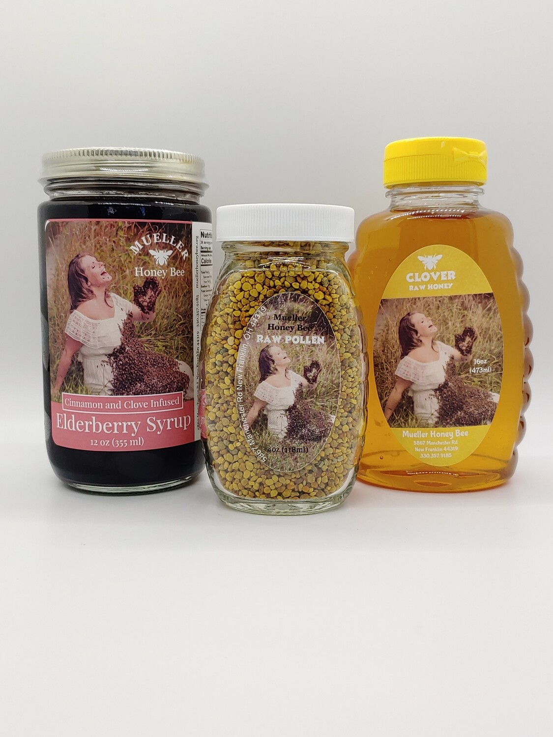 Variety Pack - 12 oz Elderberry Syrup, 6 oz Pollen, 16 oz Honey