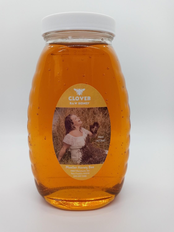 32 oz Raw Clover Honey - Glass