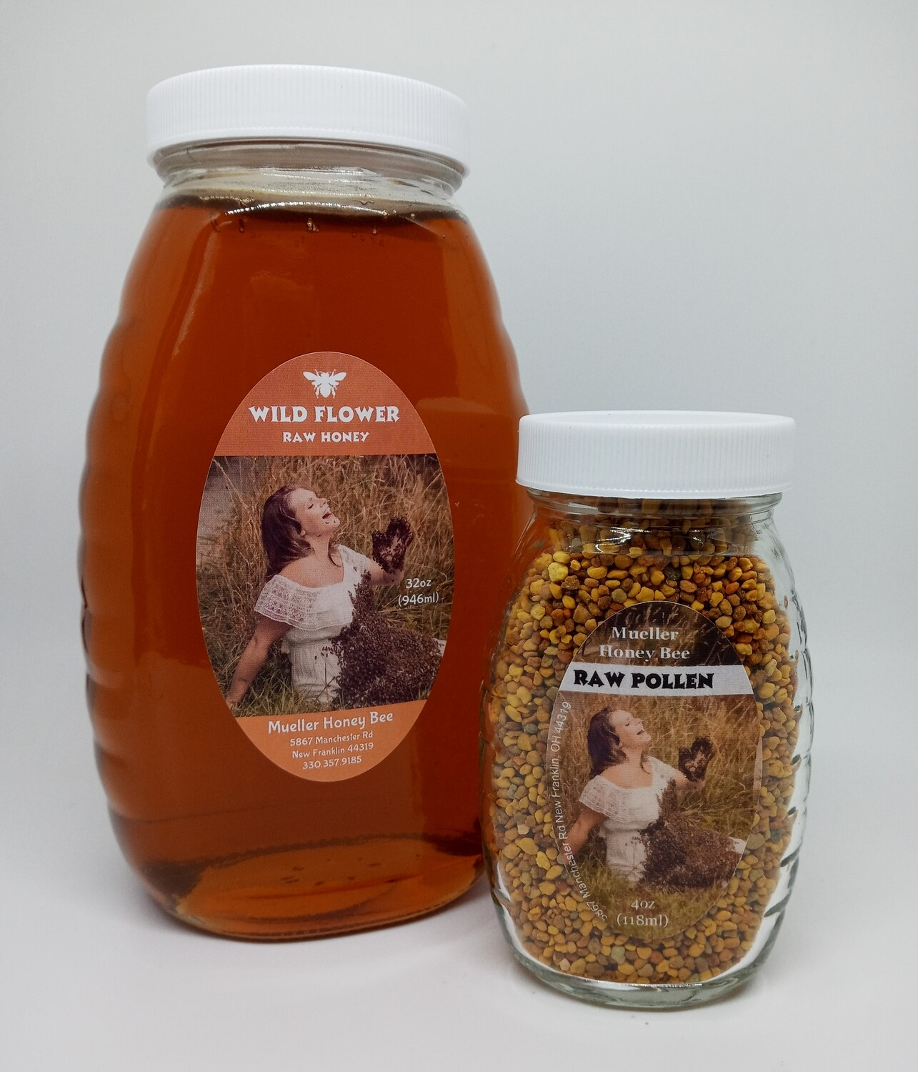 Glass Quick Allergy Pack - 4 oz Pollen and 32 oz Wildflower Honey