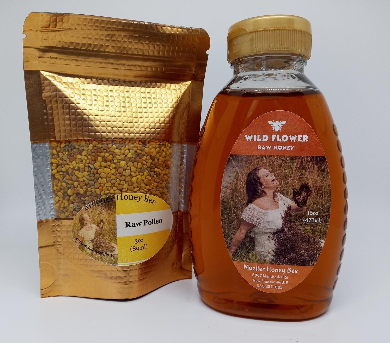 Quick Allergy Pack - 3 oz Pollen and 16 oz Wildflower Honey