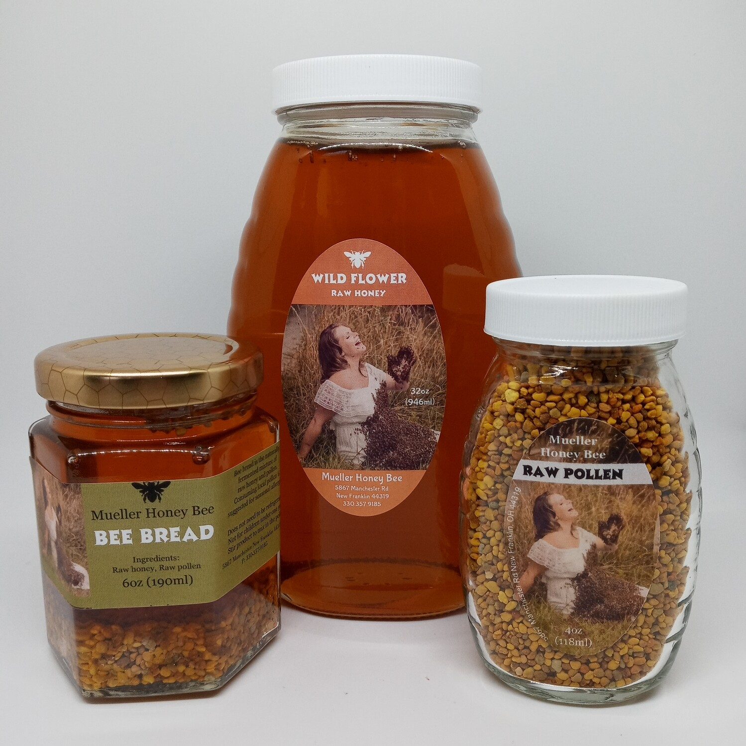 Glass Allergy Combo Pack - 4 oz Pollen, 6 oz Bee Bread and 32 oz Wildflower Honey