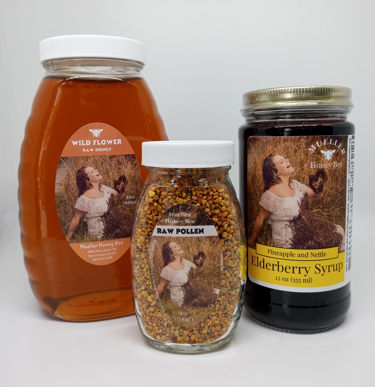 Glass Allergy Pack - 12 oz Pineapple Nettle Elderberry Syrup, 4 oz Glass Pollen, 32 oz Glass Wildflower Honey