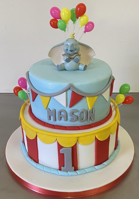 Two Tier Cake with Dumbo keepsake