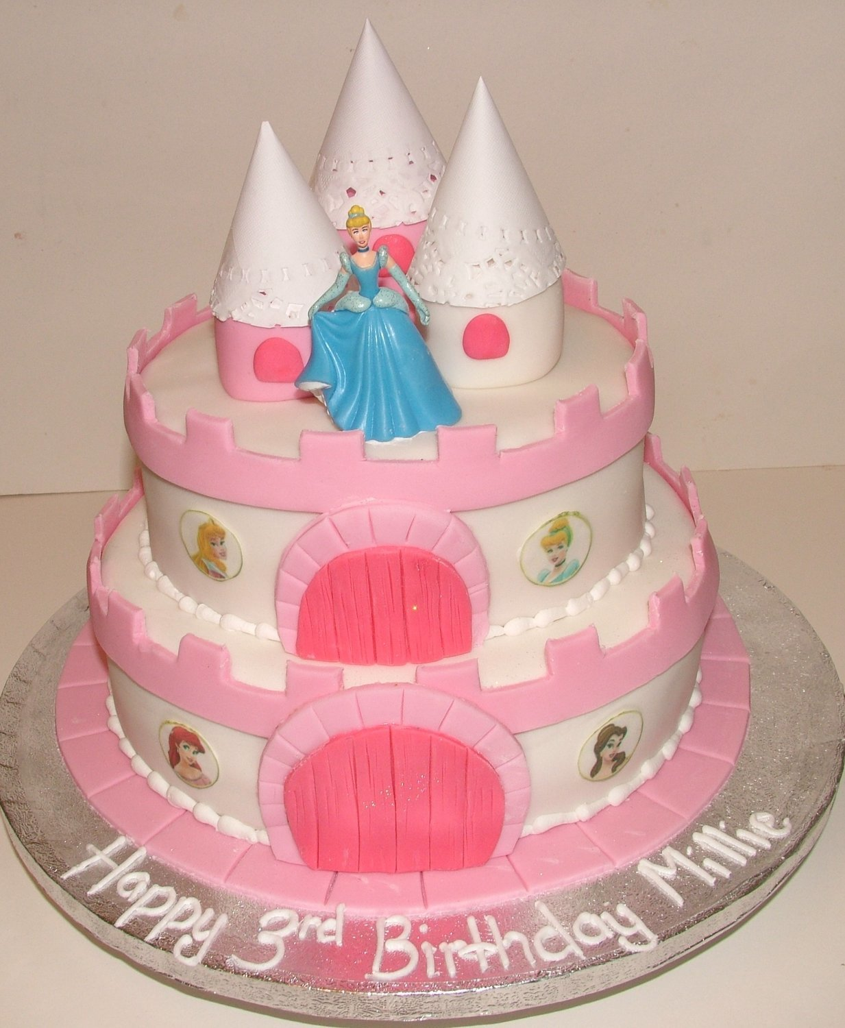 Two Tier Castle Cake with Towers and Princess