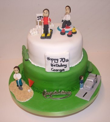 Two Tier Sporting Cake with 3 icing Figures