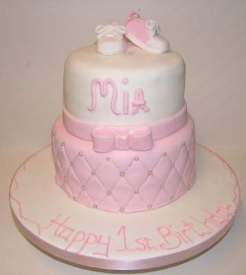 Two Tier Pink and White with Quilted Base Cake