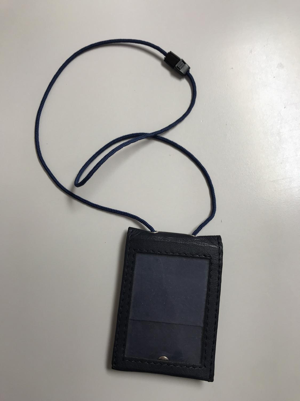 Porta Badge in pelle con cordino