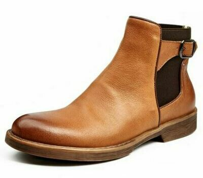 Brown and Black Homme Boot with Strap