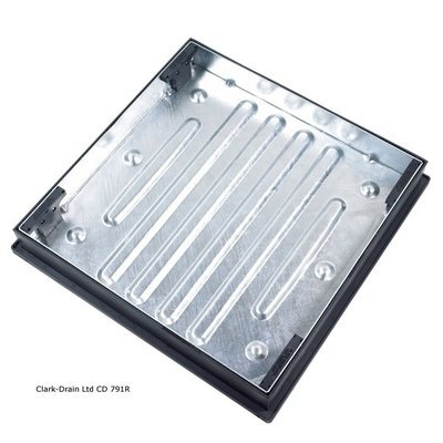 Galvanised Manhole Cover and Frame 600 x 600 x 80mm Recessed to suit Block Paving 10 Tonne (CD791R)