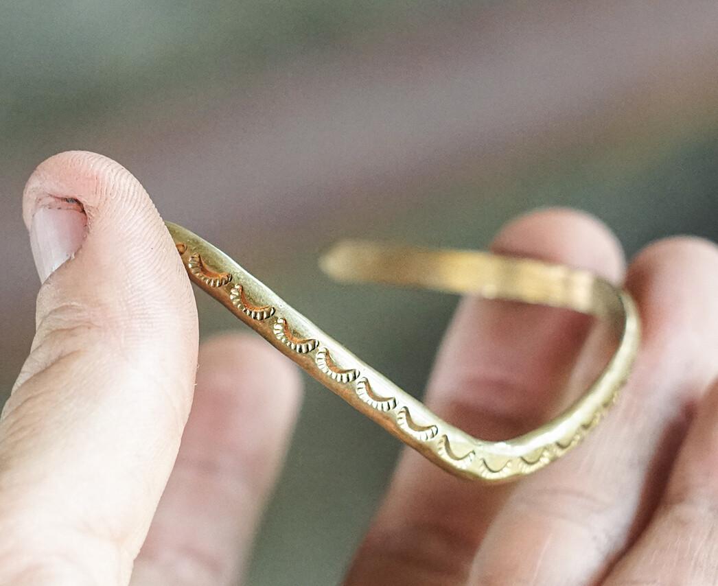 Handmade Brass Cuff signed by Native American Artist