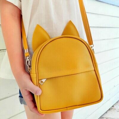 Рюкзак-сумка с ушками кота, желтый RKU_009_ZHL