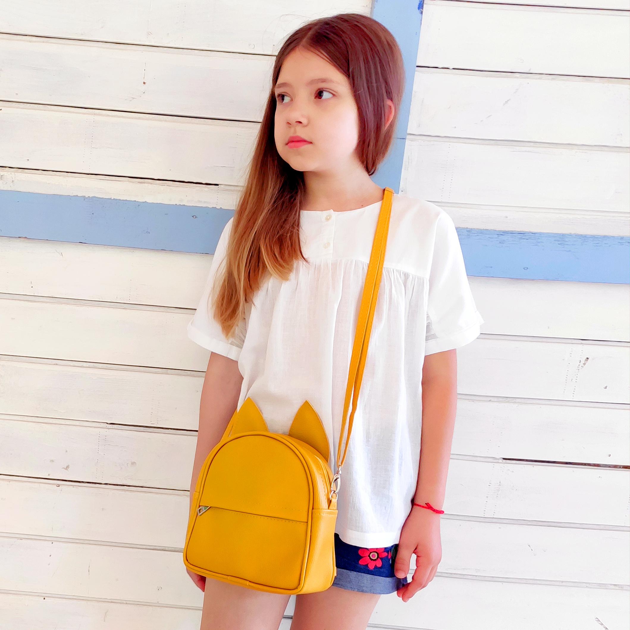 Рюкзак-сумка с ушками кота, желтый
