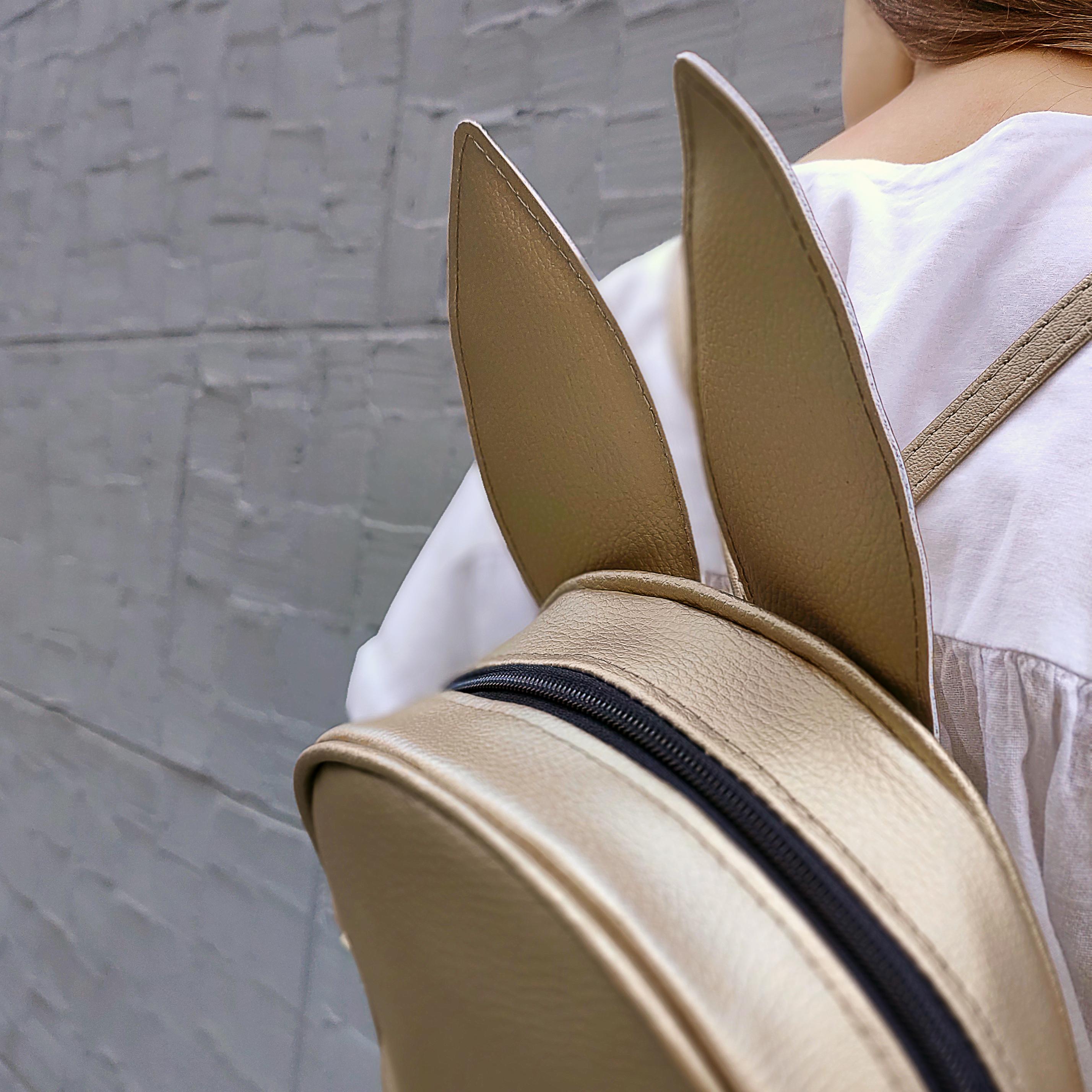 Рюкзак-сумка с ушками зайца, золотой