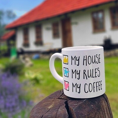 Кружка маленькая My house My rules My coffee KRD_20M040