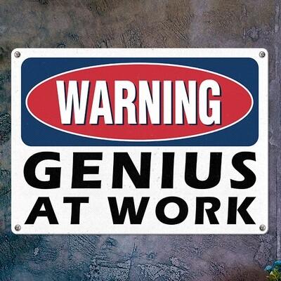 Металлическая табличка Warning gerius at work MET_20J028_WH
