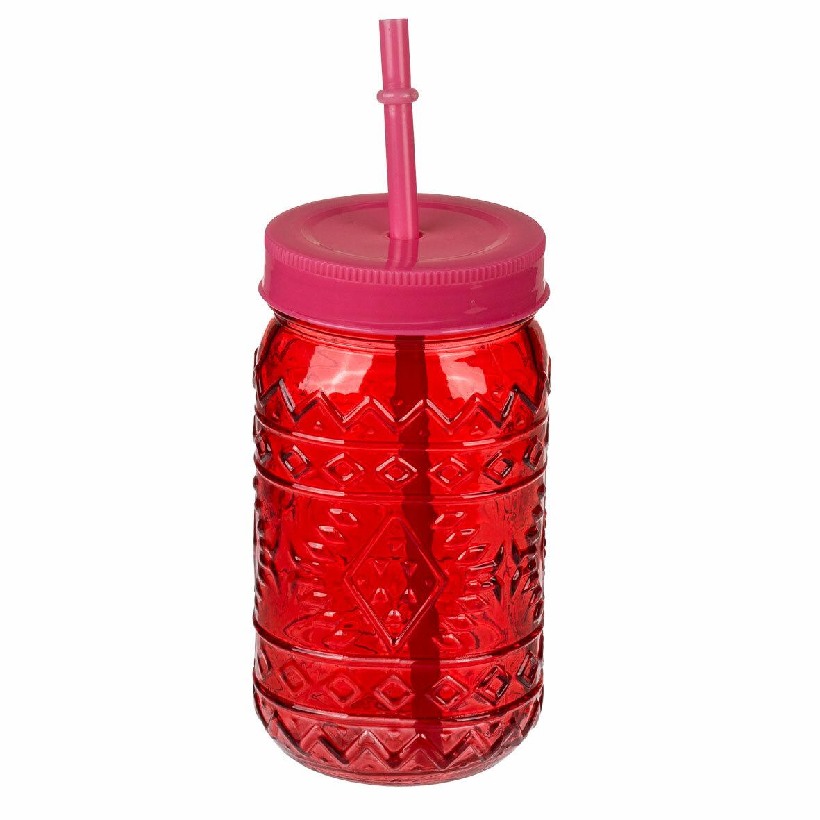 Банка-джар с соломинкой Vintage 470 мл., красный