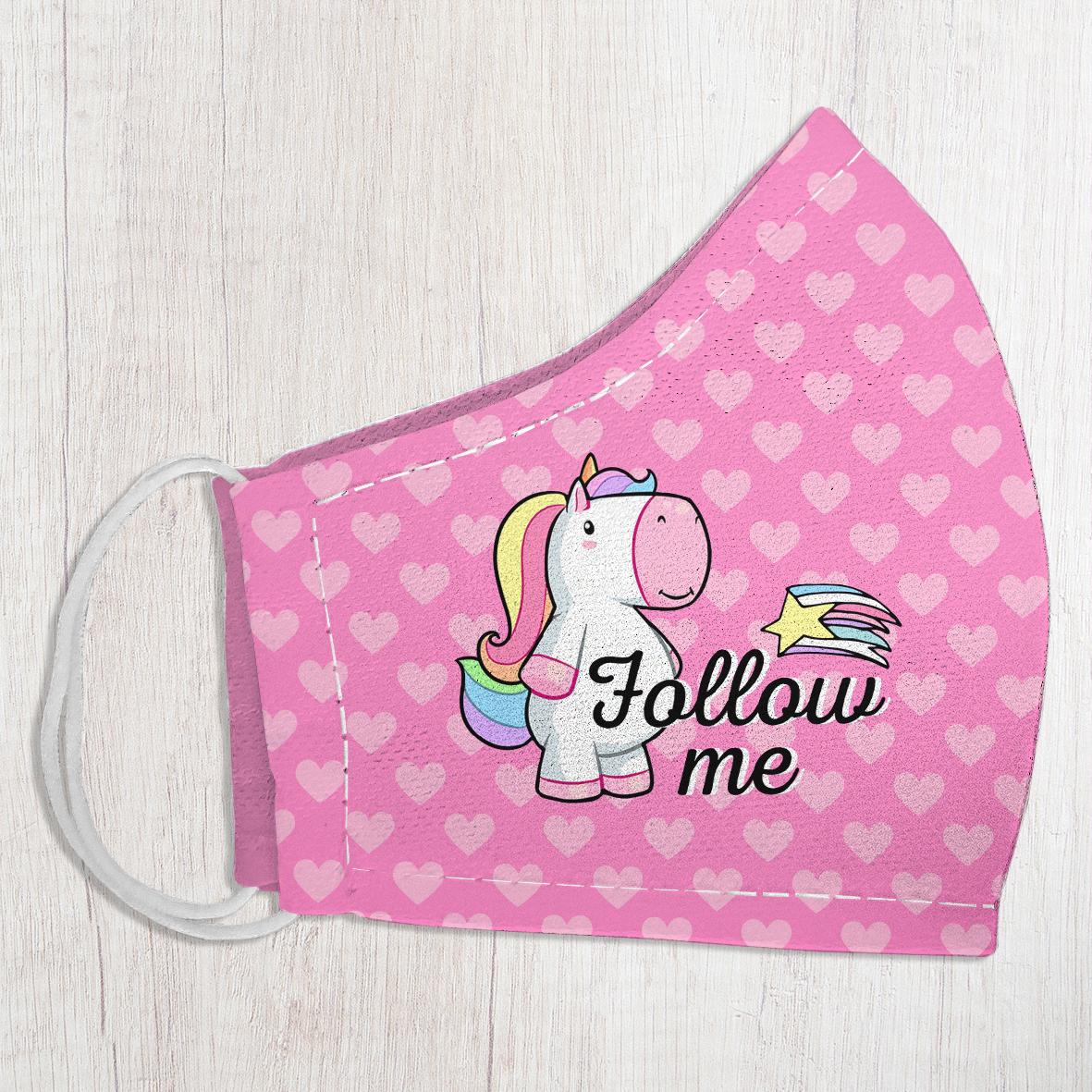 Маска защитная для лица, размер S-M Follow me (единорог)
