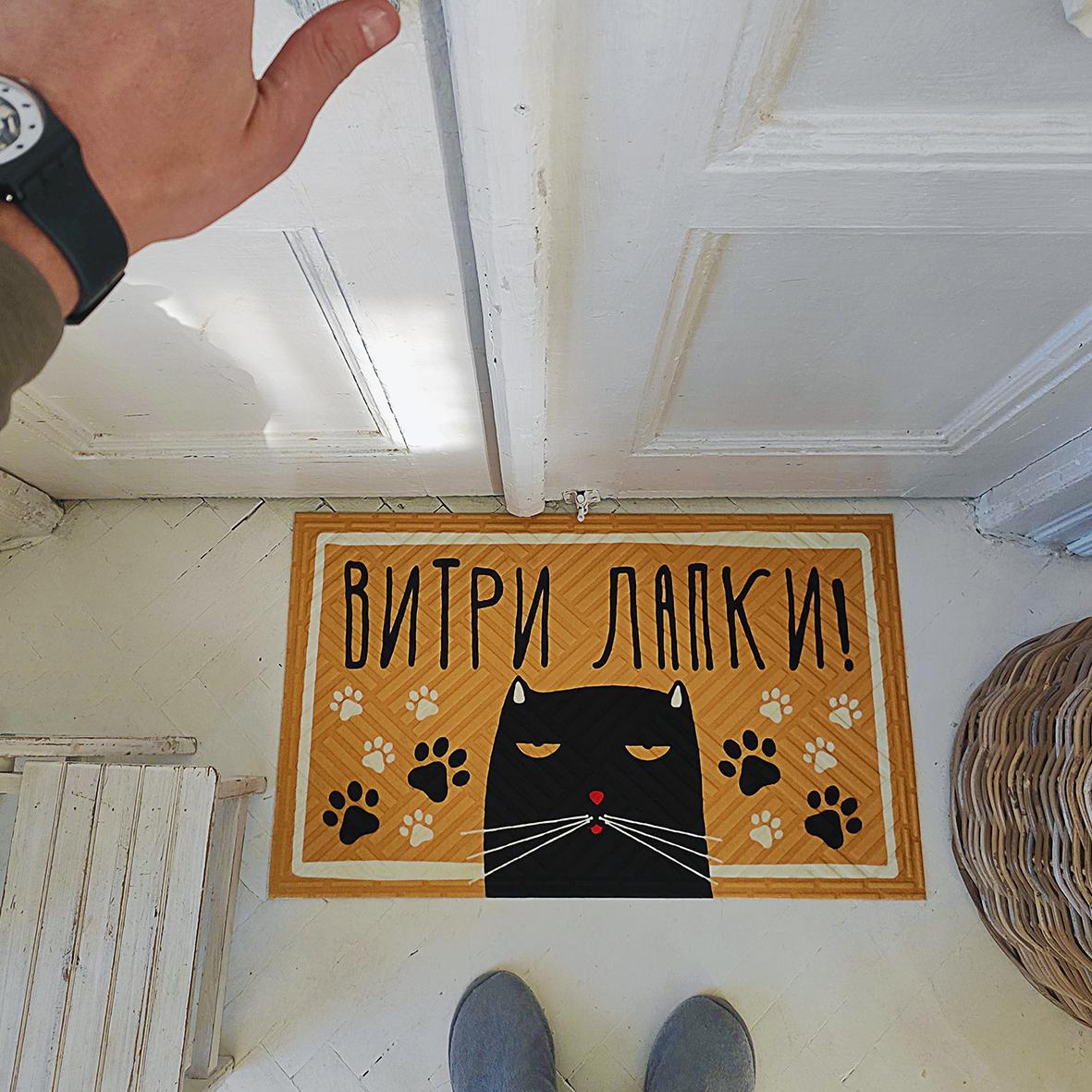 Коврик придверный с принтом Витри лапки! (кот)