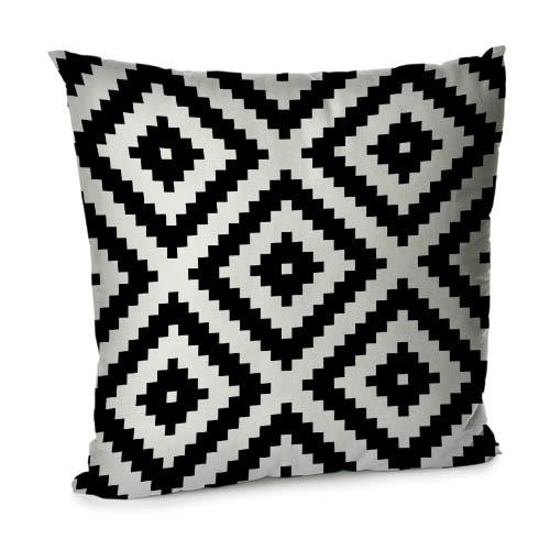 Подушка для дивана 45х45 см (бархат) Чёрно-белый геометрический ромб