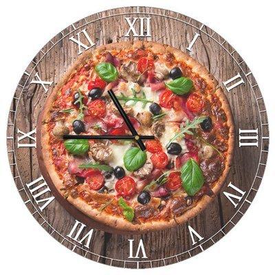 Часы настенные круглые, 36 см Пицца CHR_P_15M045