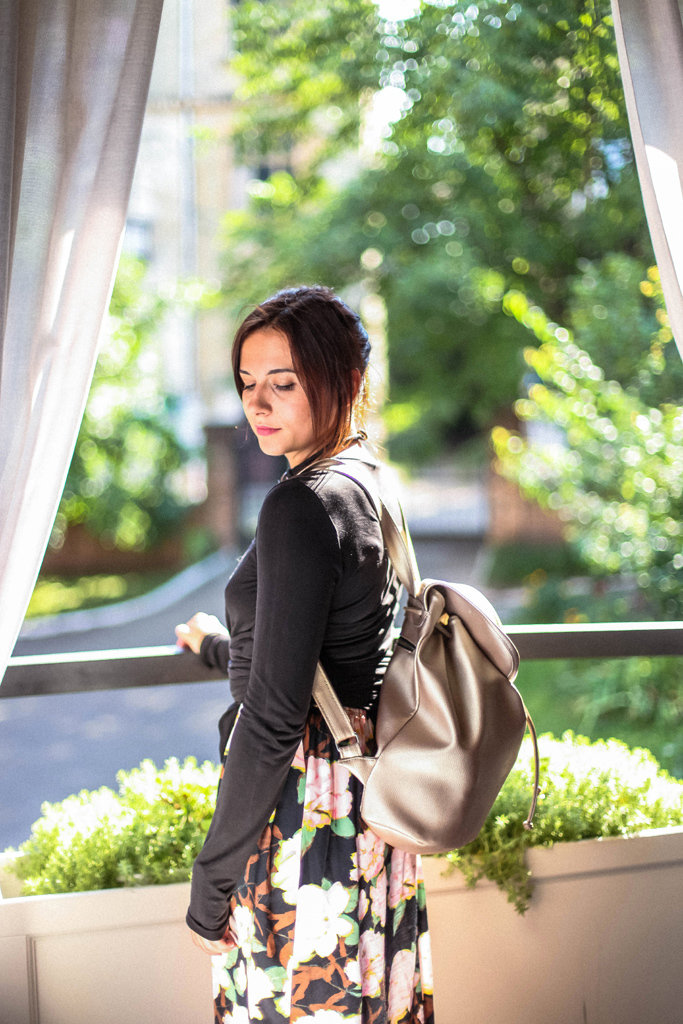 Рюкзак женский кожзам Mod MAXI, цвет золотой