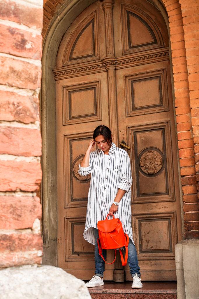 Рюкзак женский кожзам Mod MINI, цвет морковный