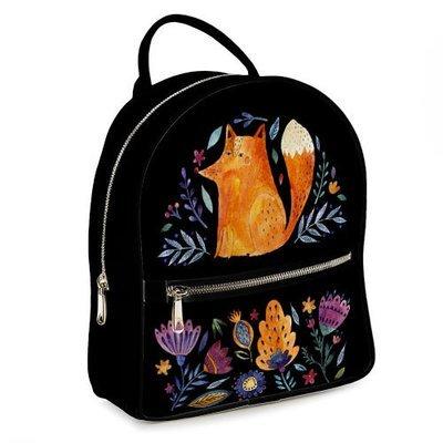 Городской женский рюкзак Лиса и цветы на черном фоне ERK_FFL001_BL