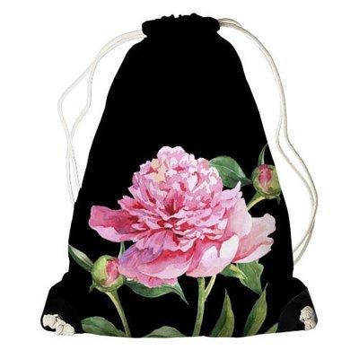Рюкзак-мешок Пион на черном фоне RM_CLF002_BL