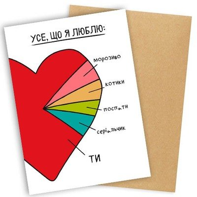 Открытка с конвертом Усе, що я люблю OTK_19L005_UKR