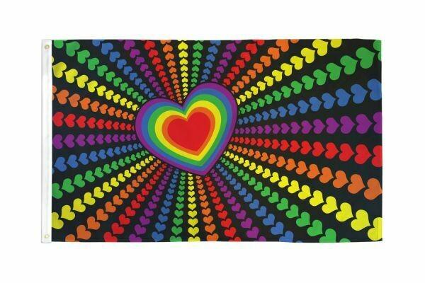 FLAG RAINBOW HEART 3X5FT
