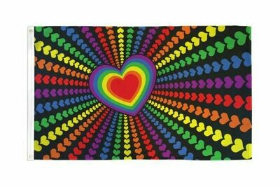 FLAG RAINBOW HEART 3X5FT