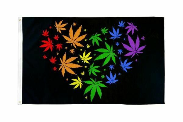 FLAG MARIJUANA LOVE RAINBOW 3X5FT