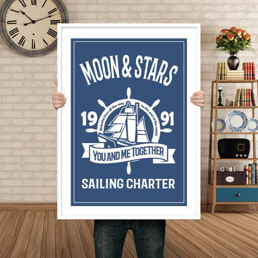 MOON & STARS SAILING CHARTER - POSTER