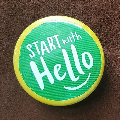 Start with Hello Pin Back Button - 2.25