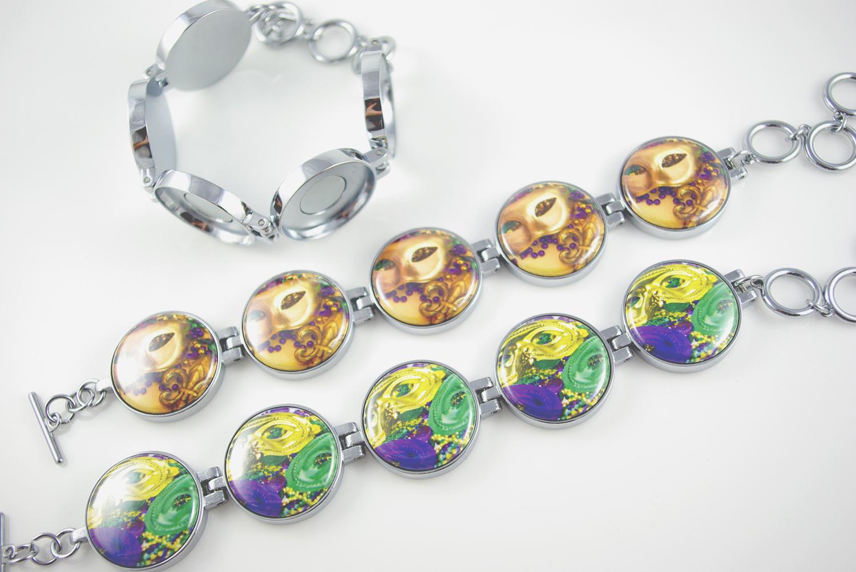 Artclix Mardis Gras Bracelet Buttons
