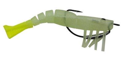 04 Vudu Weedless Shrimp Glow Chartreuse 3.5 inch 1/8 oz 2/pk