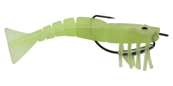 08 Vudu Weedless Shrimp Glow  3.5 inch 1/8 oz 2/pk