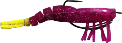 03 Vudu Weedless Shrimp Purple/Chart 3.5 inch 1/8 oz 2/pk
