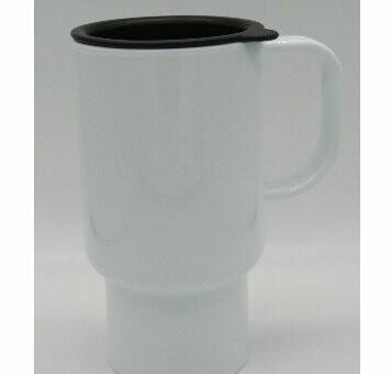 PolySub Sublimation Blank Polymer Travel Mug - 18oz - White w/Black Lid