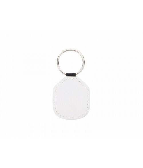 "White 1.3"" X 1.96"" PU LEATHER keychain"