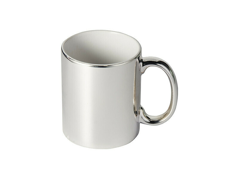 11OZ METALLIC silver PLATED CERAMIC MUG