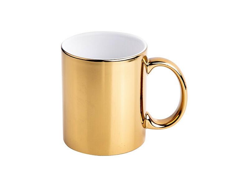 11OZ METALLIC GOLD or silver PLATED CERAMIC MUG