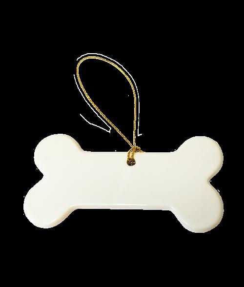 Porcelain dog bone ornament