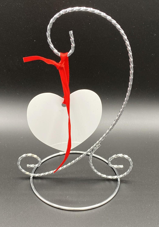 Sublimation aluminium heart shaped ornament