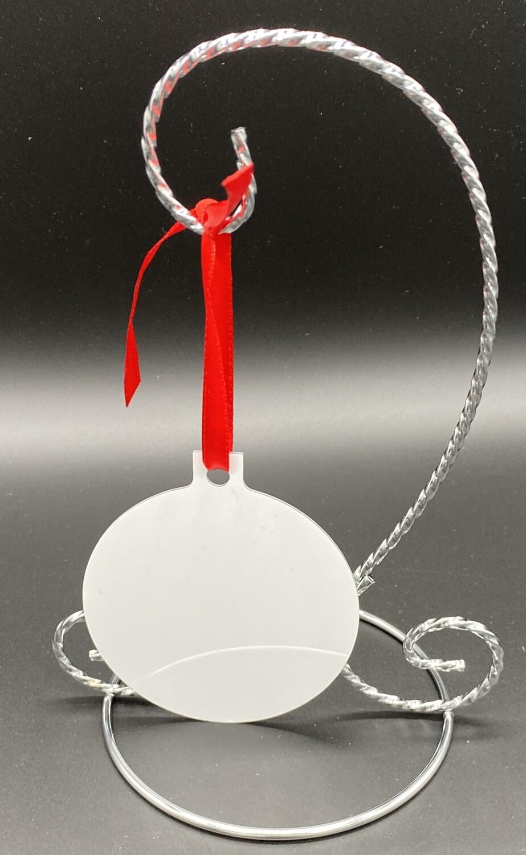 "Unisub Sublimation Blank Aluminum Ornament - 3"" x 3.37"" Ball w/Ribbon"