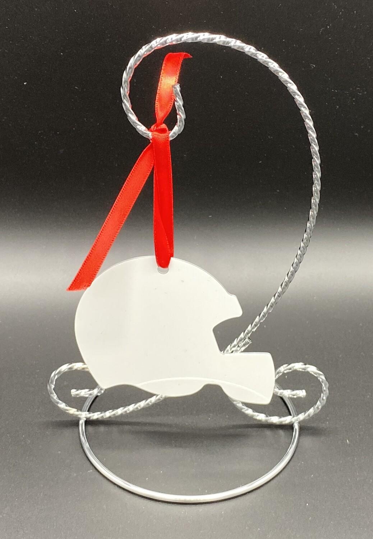 "Unisub Sublimation Blank Aluminum Ornament - 2.75"" x 3.53"" Football Helmet w/Ribbon"