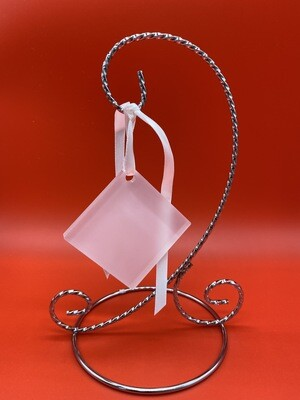 Clear Acrylic Diamond Ornament with ribbon